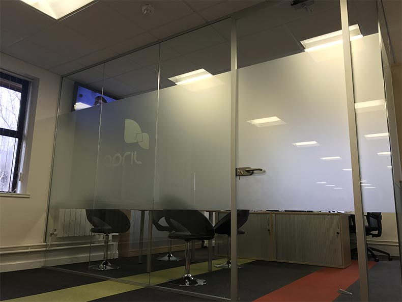 April UK meeting room with glass partitioning