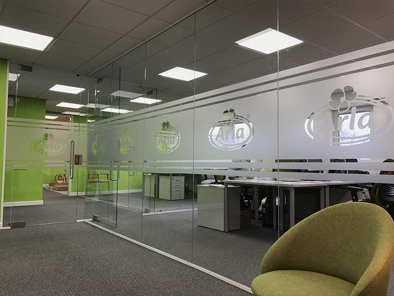 Arla office corridor with chair