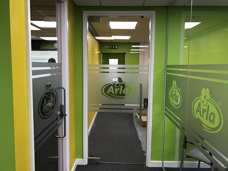 Arla office glass door
