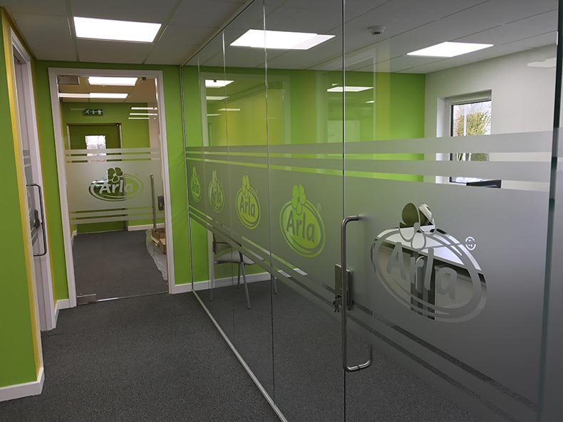 Arla office meeting room with glass door