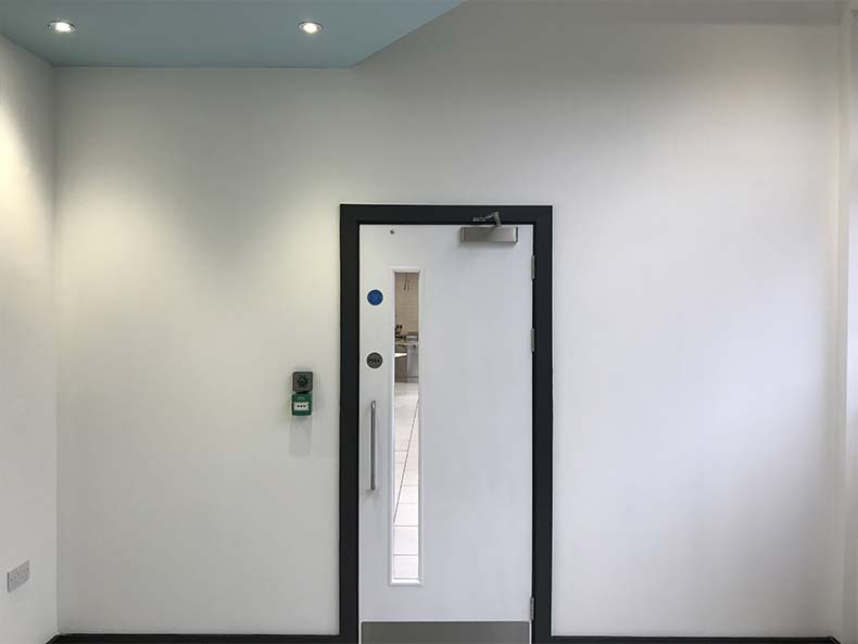 Doorway to office kitchen fit out