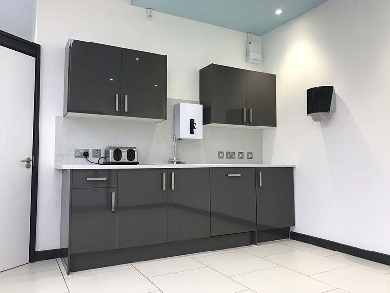 Full view of office kitchen