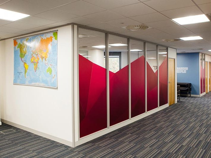 Heat office with world map